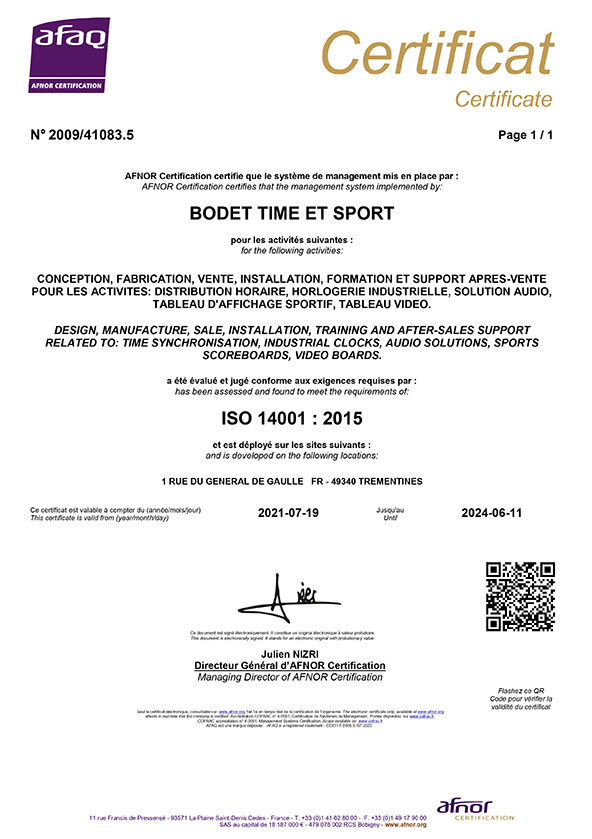 Certificate ISO 14001 - Bodet Time Management Solutions