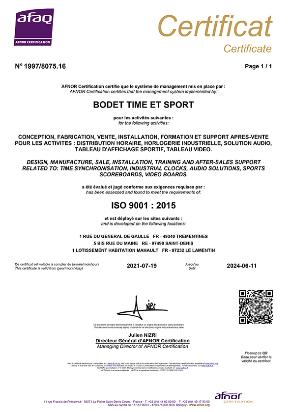 Certificate ISO 9001 - Bodet Time Management Solutions