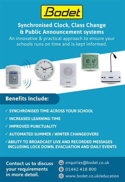 Bodet Synchronised Clock Class Change Public Announcement systems
